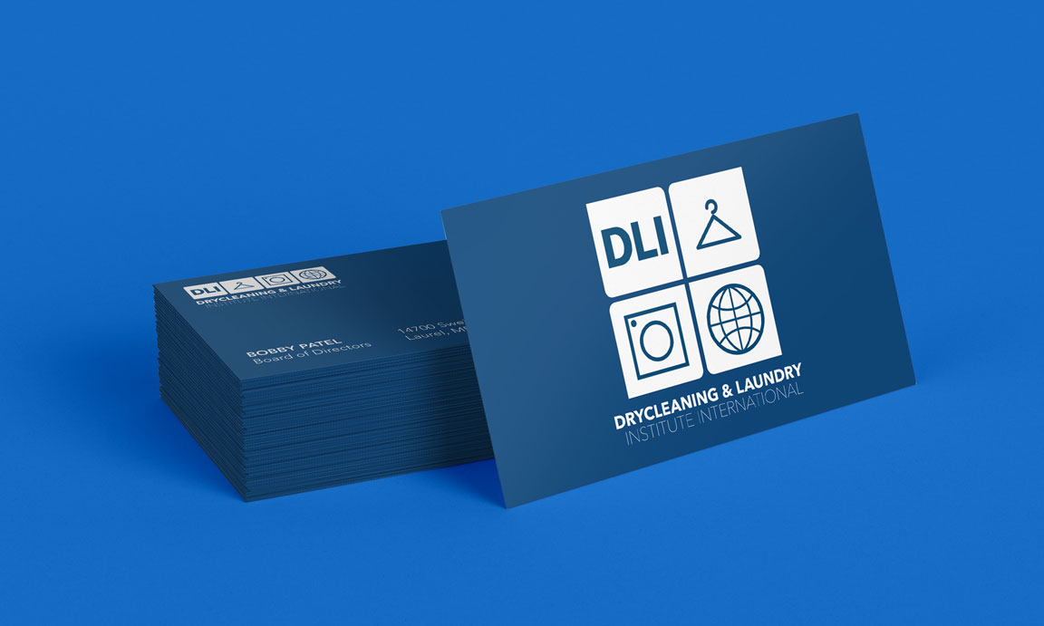 drycleaning and laundry institute international business card mockup design