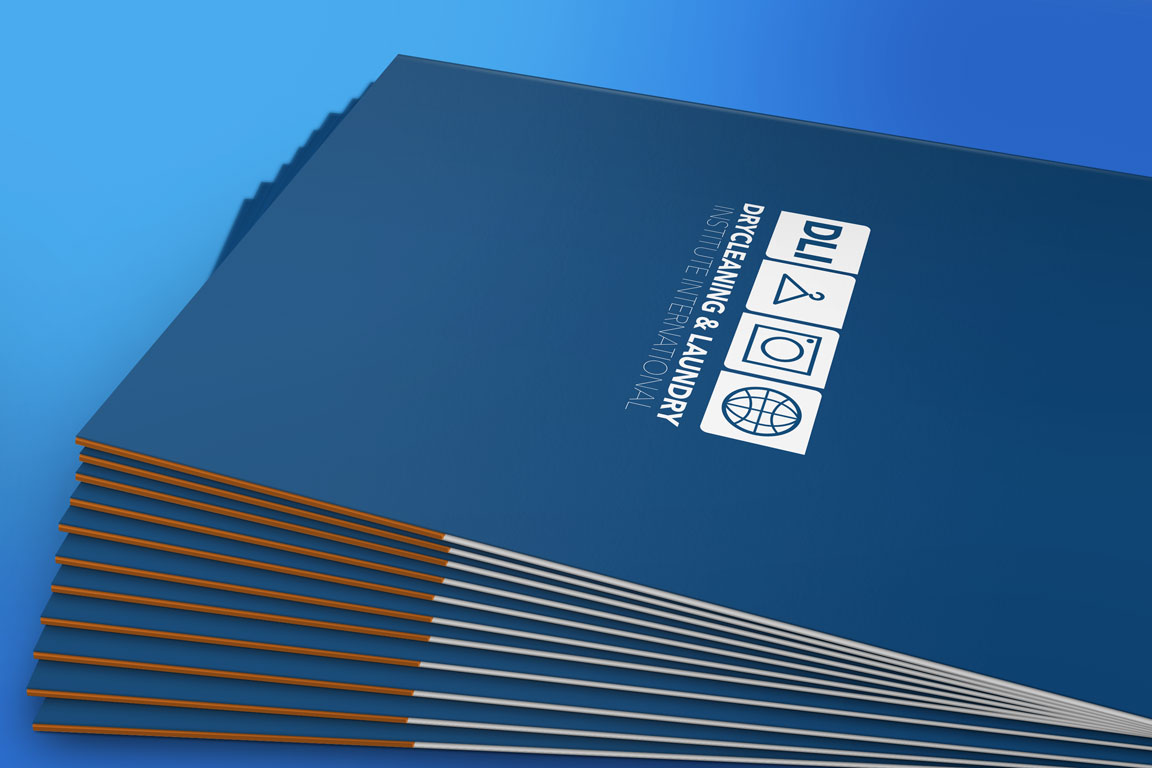 drycleaning and laundry institute international folder mockup design
