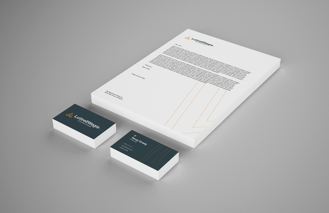 luttrellWegis stationary and business card design mockups